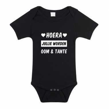 Hoera oom en tante cadeau baby rompertje zwart /meisjes