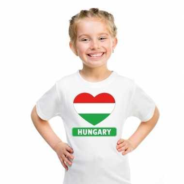 Hongarije hart vlag t shirt wit en meisjes