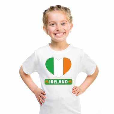 Ierland hart vlag t-shirt wit en meisjes