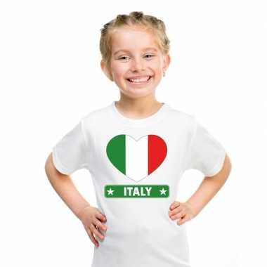 Italie hart vlag t-shirt wit en meisjes