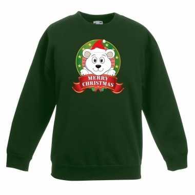Kersttrui met een ijsbeer groen en meisjes