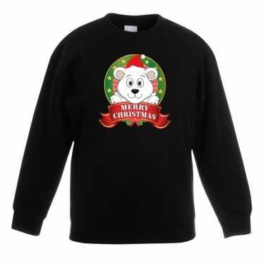 Kersttrui met een ijsbeer zwart en meisjes