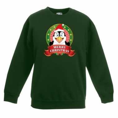 Kersttrui met een pinguin groen en meisjes