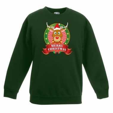 Kersttrui met rudolf het rendier groen en meisjes