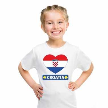 Kroatie hart vlag t shirt wit en meisjes