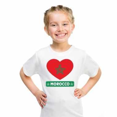 Marokko hart vlag t-shirt wit en meisjes