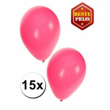 Meisjes 15 roze decoratie ballonnen