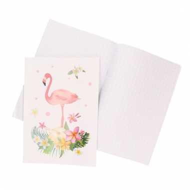 Meisjes 1x a4 ruitjes schrift 10 mm met flamingo wit