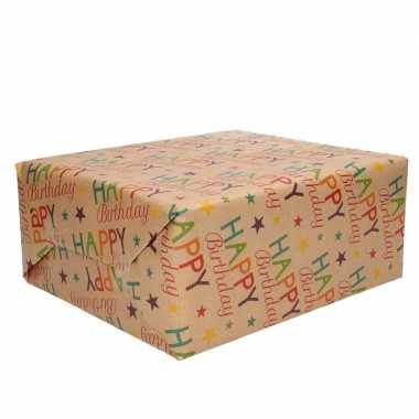 Meisjes 1x inpakpapier/cadeaupapier happy birthday urban nature 200 x 70 cm rollen