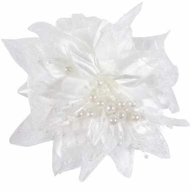 Meisjes 24x bruiloft/huwelijk corsages wit 12 cm met bloem en parels