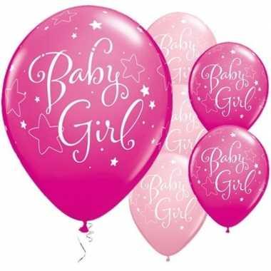 Meisjes 25x geboorte ballonnen meisje 28 cm