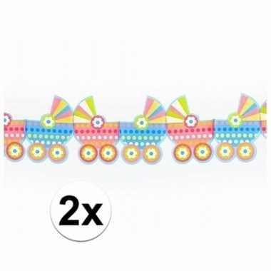 Meisjes 2x geboorte slingers met kinderwagens 3 meter