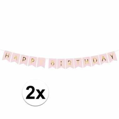 Meisjes 2x lichtroze diy feest slingers happy birthday 1,75 meter