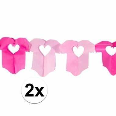 Meisjes 2x roze baby slinger met rompertjes
