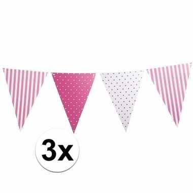 Meisjes 3 stuks lichtroze vlaggenlijnen met stippen en strepen 3 6 m