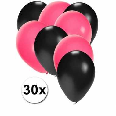 Meisjes 30x ballonnen sweet 16 zwart en roze