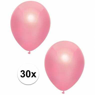 Meisjes 30x roze metallic ballonnen 30 cm