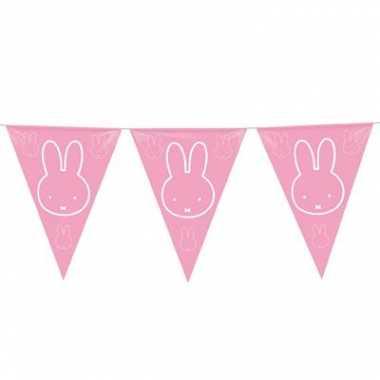 Meisjes 3x vlaggenlijnen nijntje roze van 6 meter