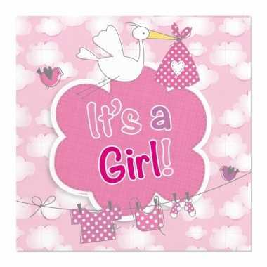 Meisjes 40x geboorte meisje babyshower servetten roze 25 x 25 cm papi