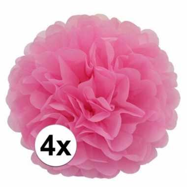 Meisjes 4x lichtroze pompom versiering 35 cm