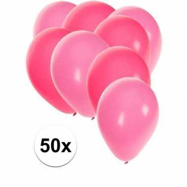 Meisjes 50x ballonnen roze en lichtroze