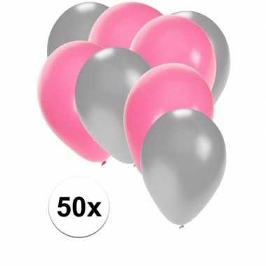 Meisjes 50x ballonnen zilver en lichtroze