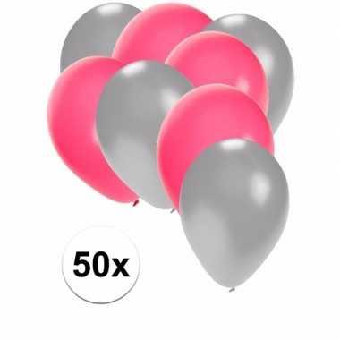 Meisjes 50x ballonnen zilver en roze