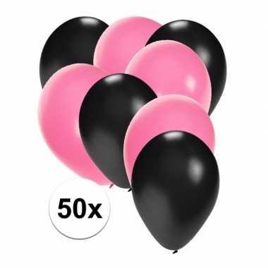 Meisjes 50x ballonnen zwart en lichtroze