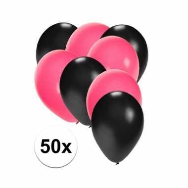 Meisjes 50x ballonnen zwart en roze