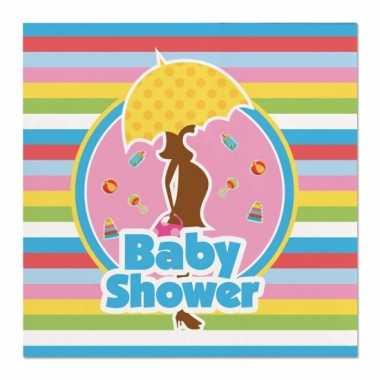 Meisjes 60x babyshower feest servetten gekleurd 25 x 25 cm papier