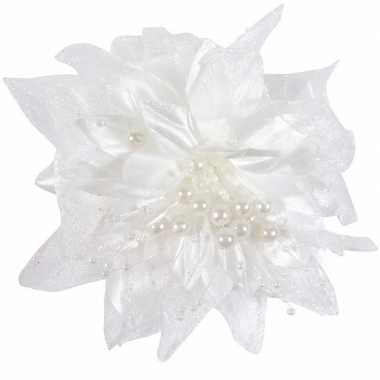 Meisjes 6x bruiloft/huwelijk corsages wit 12 cm met bloem en parels