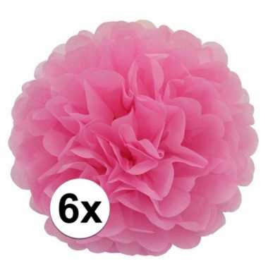 Meisjes 6x lichtroze pompom versiering 35 cm