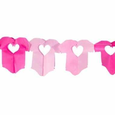 Meisjes baby rompertjes roze slinger