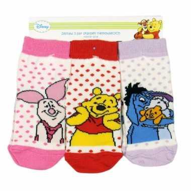 Meisjes baby sokken winnie de pooh 3 pak