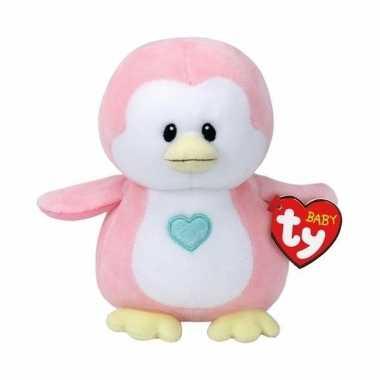Meisjes babyshower meisje knuffeldier ty baby roze pinguin penny 17 cm