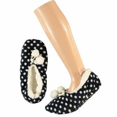 Meisjes ballerina pantoffels/sloffen stippen navy maat 34 36