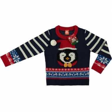Meisjes blauwe kersttrui pinguin voor kinderen