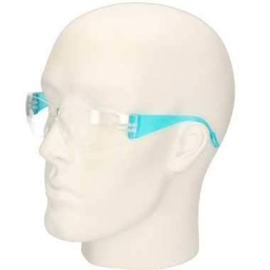Meisjes blauwe vuurwerkbril/veiligheidsbril voor kinderen