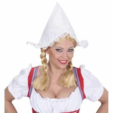 Meisjes boerinnen hoofdkapje wit voor dames