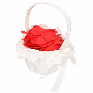 Meisjes bruidsmeisje strooimandje inclusief rode rozenblaadjes