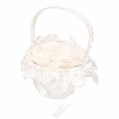 Meisjes bruidsmeisje strooimandje inclusief witte rozenblaadjes