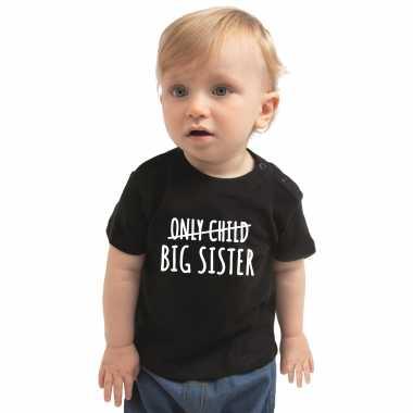 Meisjes correctie only child big sister cadeau t shirt zwart peuter/ meisje aankodiging grote zus