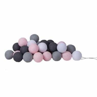 Meisjes cotton balls roze/grijze/zwart/witte lichtsnoer 5.28 meter
