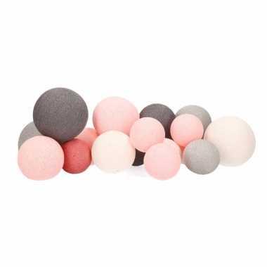 Meisjes cotton balls roze tinten lichtsnoer diverse maten