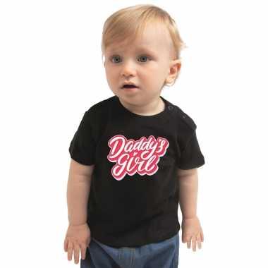 Meisjes daddys girl geboorte cadeau t shirt zwart voor babys