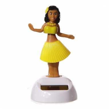 Meisjes dansend hawaii meisje geel 10 cm solar