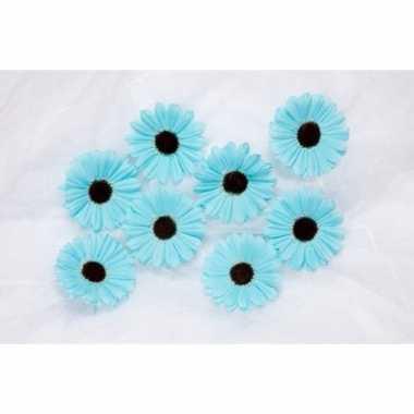 Meisjes decoratie bloemen aqua voor klamboes 12 stuks
