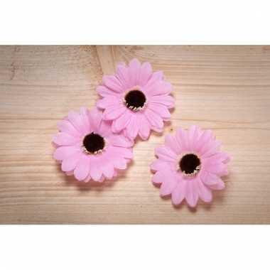 Meisjes decoratie bloemen roze voor klamboes 12 stuks