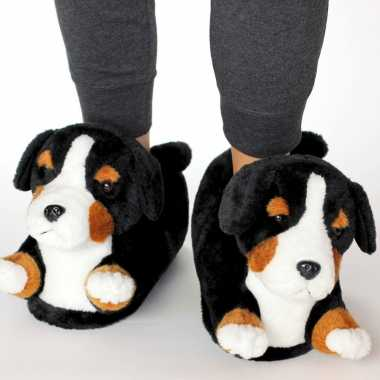Meisjes dieren berner sennen hond pantoffels/sloffen voor kinderen maat 34 36