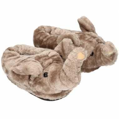 Meisjes dieren olifant pantoffels/sloffen voor volwassenen maat 42/44